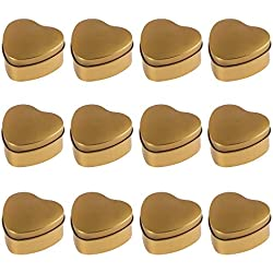 Juvale Heart Tin Can with Lid - 12-Pack 5.5-Ounce Empty Heart-Shaped Steel Box Storage Container for Treats, Gifts, Favors and Crafts, Metallic Gold, 2.8 x 1.4 x 2.7 Inches