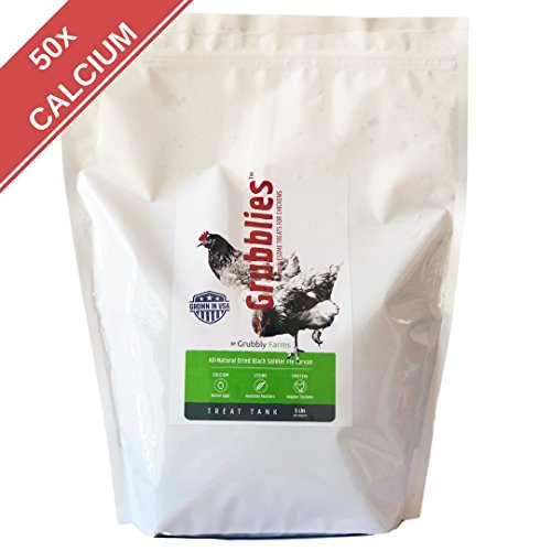 Grubblies - 5 lb. Bag USA-Grown Non-GMO Grubs, 50x More Calcium than Mealworms - a Daily Nutritious Snack to Treat Your Chickens - 100% Natural and Oven-dried for Happy, Healthy Hens by Grubbly Farms