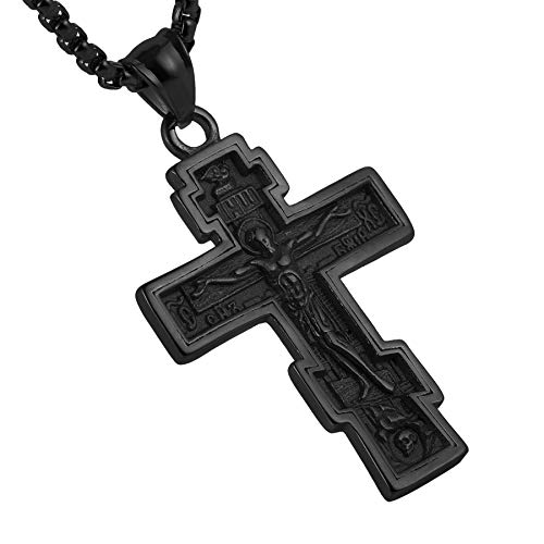 (HZMAN Vintage Orthodox Cross Crucifix Stainless Steel Pendant Necklace 22+2 Inches Chain, Colour Silver Gold Black)