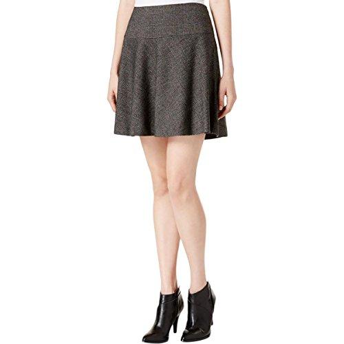 Black Tweed Skirt (Kensie Womens Tweed Plaid A-Line Skirt Black S)