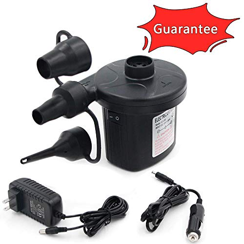 Electric Air Pump Portable Qucick-Fill Air Pump with 3 Nozzles 110v AC/12VDC Lightweight Inflatable and Deflator for Inflatables Air Mattress Bed Inflatable Cushions ()