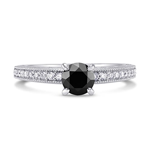 0.86Cts Black Diamond Engagement Side Stone Ring Set in 14K White Gold Size 6
