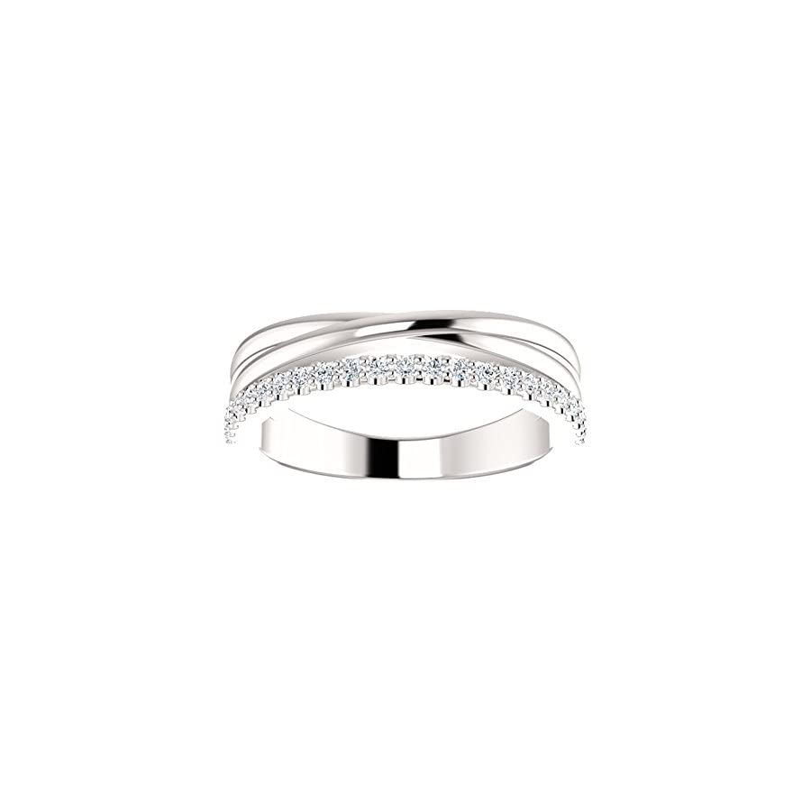 0.55 ct Ladies Round Cut Diamond Wedding Criss Cross Band in 14 kt White Gold