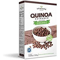 Wiraccocha Organic Extruded Quinoa Breackfast and Snack Grain with Organic Chocolate Cover 4.58 oz (130 grams ) Box (Chocolate, Pack of 1)