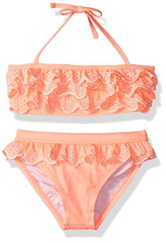 Gymboree Big Girls Coral Eyelet Bikini  Neon Orange Glow  S
