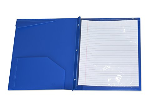 Assorted Color 2 pockets Poly Portfolio with 3 Prong Fasteners,6 Pack Photo #4