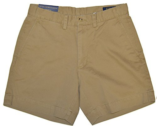 Polo Ralph Lauren Mens 6 Inch Flat Front Chino Shorts (Montana Khaki, 33) -