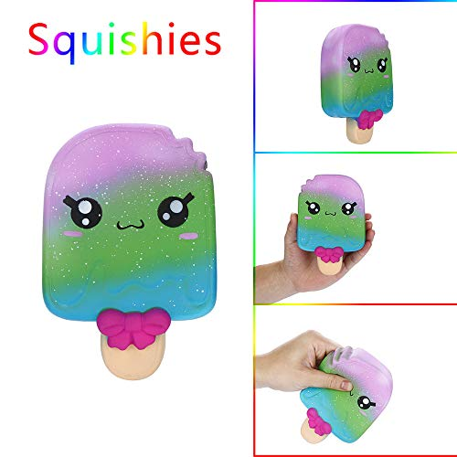 DICPOLIA Toys Squishy Toy for Stress Relief. Kawaii Slow Rising and Super Soft Squishies with Sweet Scented Cartoon Ice Cream (Multicolor) -