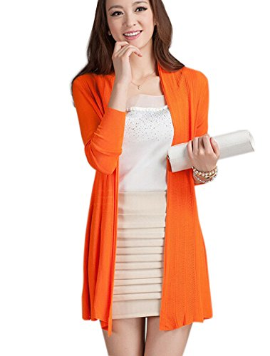 R REIFENG Women Thin Loose Knited Oversized Cardigan Sweater (Orange) (Sweater Cardigan Orange)
