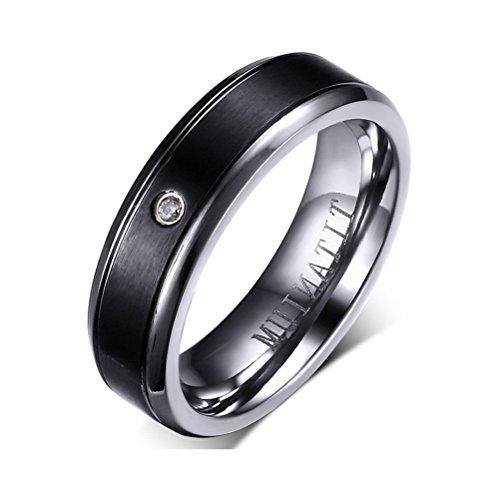 Men Women Couple Titanium CZ Crystal Engagement Wedding Band Ring,Middle Black,Comfort Fit,Size 6