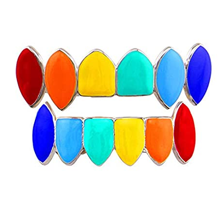 New!!!Hennta Rainbow Hip Hop Teeth Top Bottom Tooth Grill Set Copper Tooth Cap Jewelry Teeth Halloween Party Decoration