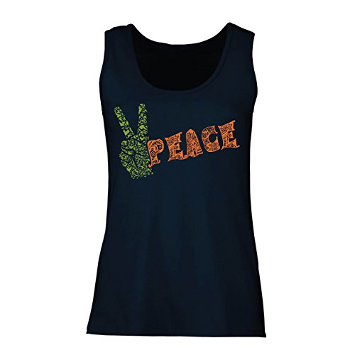 - lepni.me Womens Tank Tops Peace Symbol, 60s 70s Hippy Hippie Festival, Peace Sign Flower Summer Hipster Swag (X-Large Blue Multi Color)