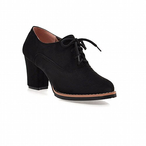 Lace Oxfords Faux Shoes Foot Boots up Charm All Elastic Women's Black Fashion High Suede heel Seasons Chunky Ankle gxfww8Sq