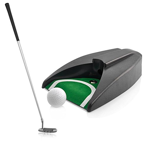Complete Executive Indoor Golf Putter Gift Set with Ball Return Function