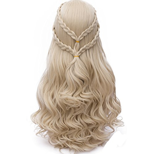 Probeauty 2017 New Long Braid Curly Women Cosplay Wigs +Wig Cap (Blonde Curly Braid B) ()
