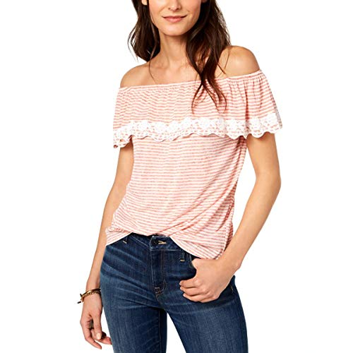 (Tommy Hilfiger Womens St. Tropez Lace-Trim Off-The-Shoulder Pullover Top Red)
