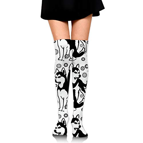 (MFMAKER Women Girls Cheerleader Over The Knee Plus Size Long Cotton Stretchy Thigh Stockings Siberian Husky with Snowflakes High Tube Socks)