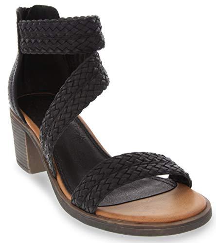 Sugar Women's Haidee Braided Criss Cross Strap Heeled Dress Sandals 9.5 Black