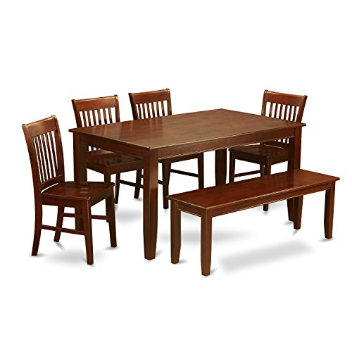 East West Furniture DUNO6D-MAH-W 6-Piece Dining Table Set
