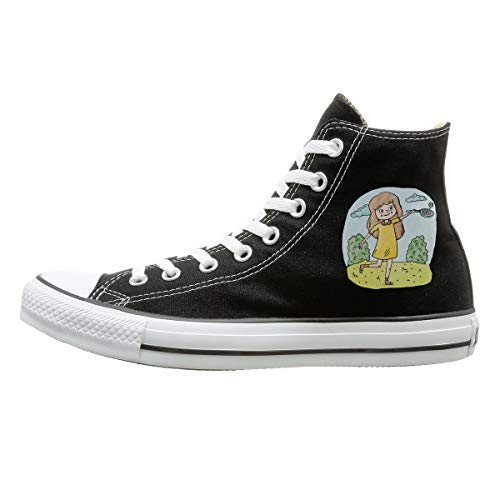 Sakanpo Yeah I Play Like A Girl (Tennis) Canvas Shoes High Top Casual Black Sneakers Unisex Style 133