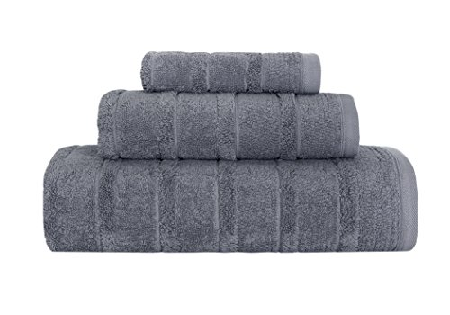 Carel 3-Piece Turkish Cotton Towel Set Ribbed Design- Ultra Soft Texture With Premium Absorbency - Perfect For Daily Use Or Home Decor - 600 GSM (Fossil Gray) -  Makroteks