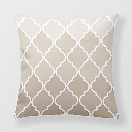 Lightinglife Home Decor Pillow Cover Cream Cushion Cover For Sofa Quatrefoil Pattern Quatrefoil 18 X 18 Throw Pillow xdq