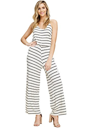 Tank Bodice Striped (Annabelle Women's V-Neckline Sleeveless Tank Top Striped Print Flared Leg Elastic Waist Jumpsuit with Side Slant Pockets Ivory-Black Small J8078)
