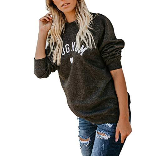 Womens CAT Dog MOM Heart Letter Print Long Sleeve Sweater Sweatshirt Blouse Tops Dark - Boatneck Print Top
