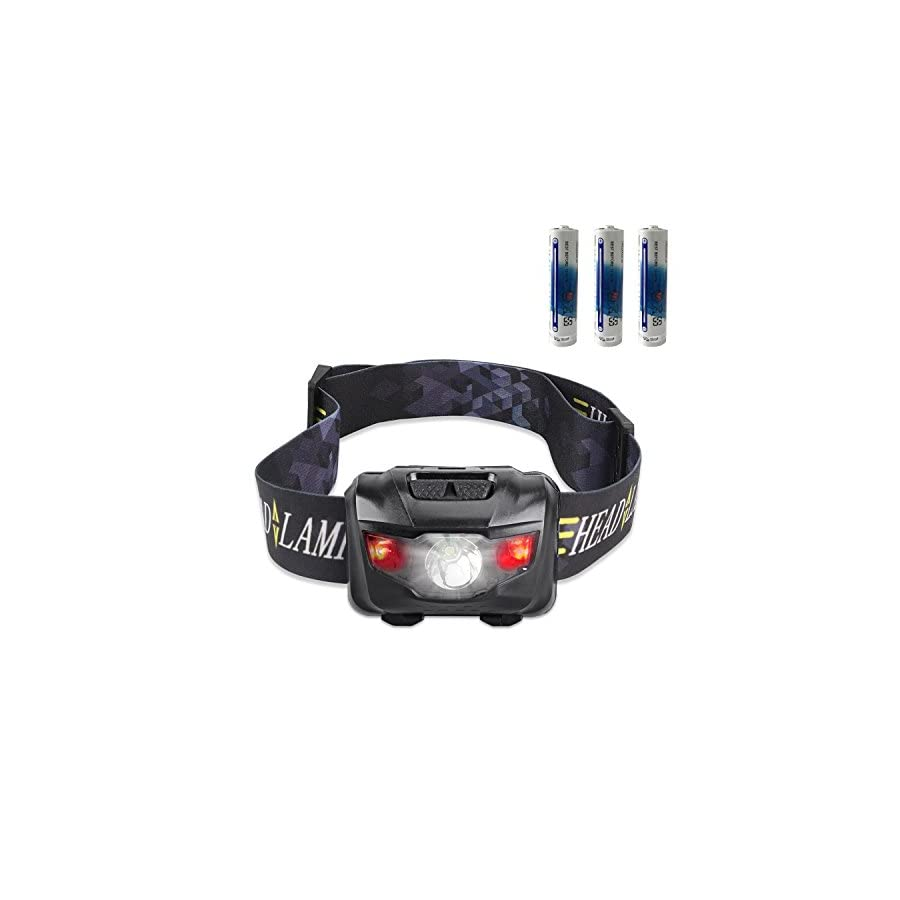 Ultra Bright CREE LED Headlamp Flashlight, 160 Lumen with Red Lights, Waterproof Head Lights for Camping, Running, Batteries Included, Black