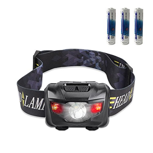 CREE LED headlamp flashlight with red lights, waterproof head light for hunting,running, camping, reading, kids 3 AAA batteries included (black) by STCT Street Cat