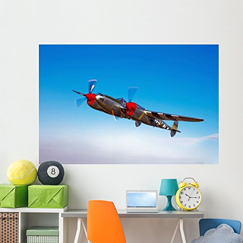 (Lockheed P-38 Lightning Fighter Wall Mural by Wallmonkeys Peel and Stick Graphic (72 in W x 48 in H) WM285480)