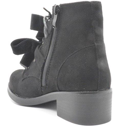 Unbranded Women Ladies Studded Bow Ankle Boots Low Heel Hunter Ribbon Biker Shoes Black uOmPRf
