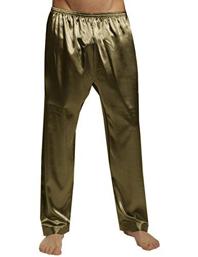 SILK MODA - Mens Silk Pajama Sleep / Lounge Pants (Light Weight / Summer) M Gold