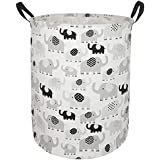 """AYTG 19.7"""" Round Canvas Large Clothes Basket Laundry Hamper with Handles,Waterproof Cotton Storage Organizer Perfect for Kids"""