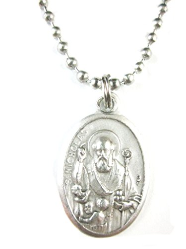 - VP&P Silver Tone St Nicholas with Children Medal Pendant Necklace 24