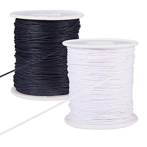 PH PandaHall 200 Yards 2 Color 1mm Waxed Cotton Thread Cords Thread Beading String Spool for Jewelry Making and Macrame Supplies (Black & White, 100 Yards Each Roll) ()