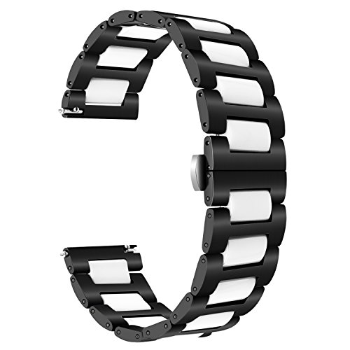 for Samsung Gear S3 / Galaxy Watch 46mm Bands, TRUMiRR 22mm Ceramic Watch Band Quick Release Strap All Links Removable for Samsung Gear S3 Classic/Frontier,Gear 2 R380 R381 R382, Asus ZenWatch 1 2 Men