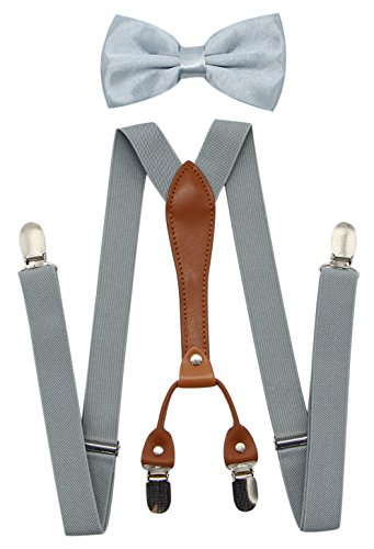 (JAIFEI Suspenders & Bowtie Set- Men's Elastic X Band Suspenders + Bowtie For Wedding, Formal Events (Light Gray))
