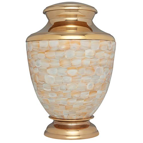 Mother of Pearl Hand Made Brass Funeral Urn