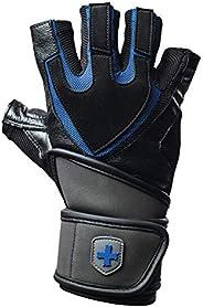 Harbinger Training Grip Wristwrap Luvas para levantamento de peso com palma de couro acolchoada TechGel (par)
