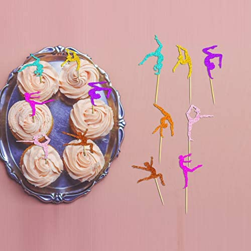 Uniceworld Gimnasia Cupcake Toppers Glitter Cake Food Fruit Postre Picks Gymnast Tema Niña Cumpleaños Fiesta Decoraciones 35 piezas: Amazon.es: Juguetes y juegos