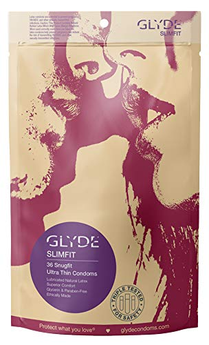 GLYDE Slimfit Premium Small Condom - 36 Snugger Fit Condoms - Non Toxic, Natural and Organic by GLYDE