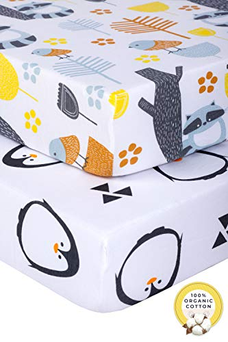 Pickle & Pumpkin Fitted Crib Sheets Set 2 pack in 100% Organic Jersey Cotton | Toddler Bedding Sheet Set for Baby Girl or Baby Boy | Standard Crib Mattress Sheets in Unisex Design | Woodland & Penguin