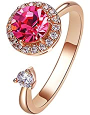 Aivtalk Women Open Rings Crystal Swarovski Adjustable Pink Waltz of Love Rose Gold Plated Ring Jewelry Gift Fidget Toys Ring Kids Teenagers Girls for Relief Anxiety Ring