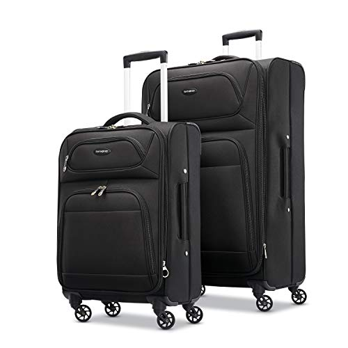 Samsonite Transyt Expandable Softside Luggage Set with Spinner Wheels, 2-Piece (20'/28'), Black