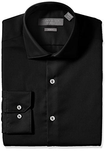 Perry Ellis Men's Slim Fit Non-Iron Dress Shirt, Black Solid, 18 34/35 by Perry Ellis