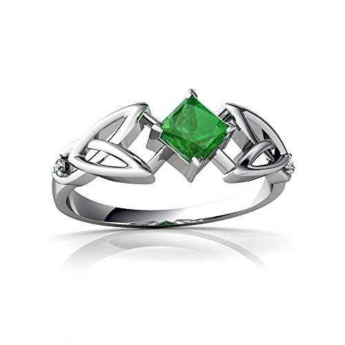 Emerald Ring 14kt Gold Jewelry (14kt White Gold Emerald and Diamond 4mm Square Celtic Trinity Knot Ring - Size 8)