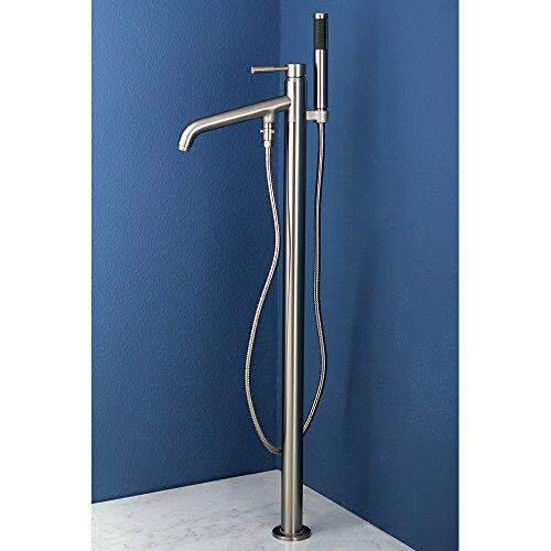 Kingston Brass KS8138DL Concord Pillar Roman Tub Filler with Telephone Shower Set, Satin Nickel