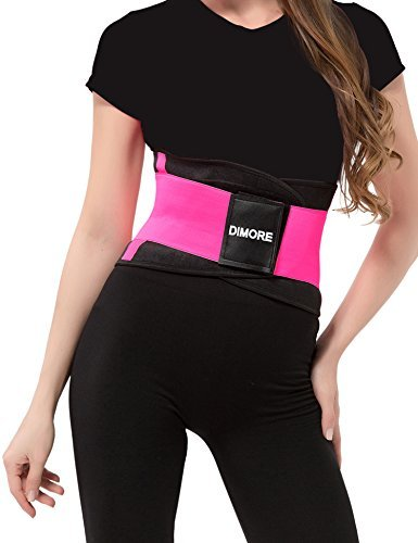 Dimore Waist Trainer for Weight Loss Tummy Trimmer Stomach Belt Ab Cincher Corset Girdle, Rose, X-Large