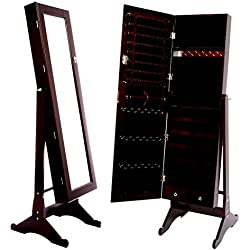 Espresso / Dark Brown Mirrored Jewelry Cabinet Armoire Stand, Mirror, Necklaces, Bracelets, Rings